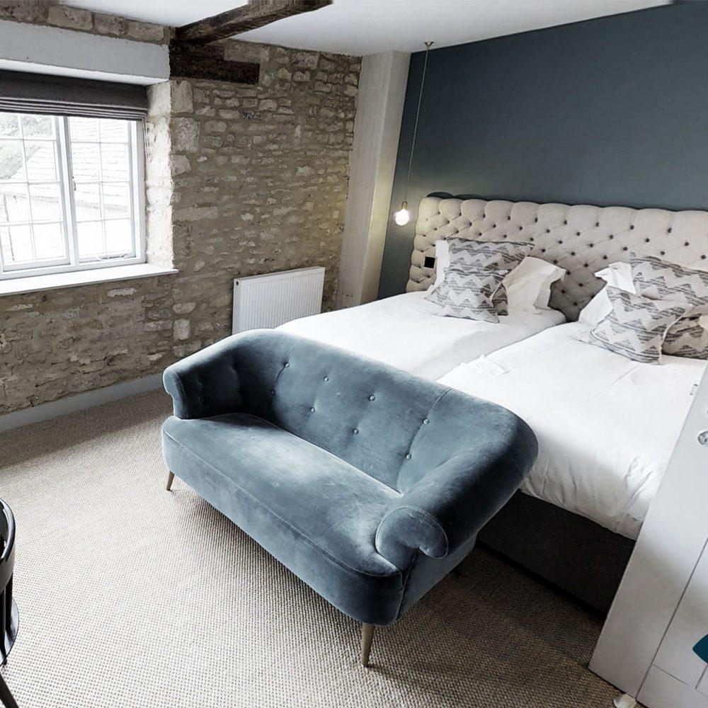 Das Schlafzimmer erfasst für einen virtuellen 3D Rundgang.