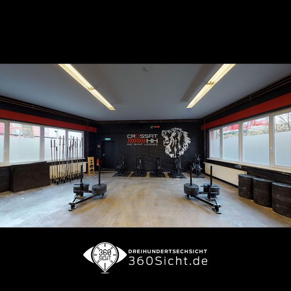 Crossfitstudio in Hamburg in 3D aufgezeichnet und viertuell dargestellt